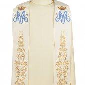 Immagine di 'Stola mariana avorio con ricami oro e monogramma mariano blu'