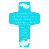 """Croce azzurra """"Angelo di Dio"""" - altezza 13 cm"""