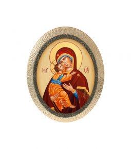"""Copertina di 'Icona ovale in polimero con cavalletto """"Madonna col Bambino"""" - dimensioni 25x20 cm'"""