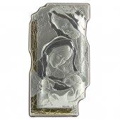 """Icona sagomata in legno, argento e oro """"Sacra Famiglia"""" - dimensioni 18x10 cm"""