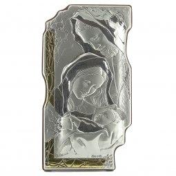 """Copertina di 'Icona sagomata in legno, argento ed oro """"Sacra Famiglia"""" - dimensioni 18x10 cm'"""