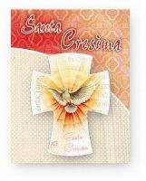"""Magnete in legno a forma di croce """"Santa Cresima"""" - dimensioni 5,5x7,5 cm"""