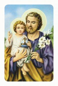 """Copertina di 'Card pvc con preghiera """"San Giuseppe con il Bambino""""'"""
