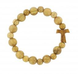 Copertina di 'Braccialetto elastico con croce Tau e grani in legno ulivo'