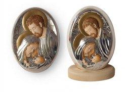 """Copertina di 'Icona ovale """"Sacra Famiglia"""" argentata e decorata a mano - dimensioni 15x10,5 cm'"""