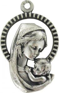 Copertina di 'Medaglia Madonna Bambino in metallo ossidato - 2,6 cm'