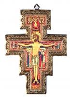 Croce di San Damiano con bordo dorato e legno pesante cm 119x86 di  su LibreriadelSanto.it
