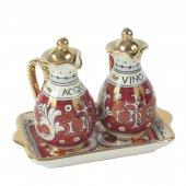 Ampolline anfora in ceramica con simbolo IHS - Modello Rubino e oro