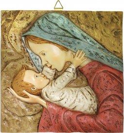Copertina di 'Quadro Madonna con Bambino quadrato in resina dipinta a mano - Bassorilievo - 18 x 18 cm'