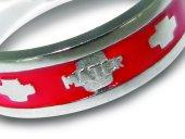 Immagine di 'Fedina rosario in argento smaltata rossa con crocette mm 23'