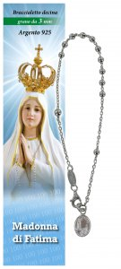Copertina di 'Bracciale rosario Madonna di Fatima in argento con 11 grani da 3 mm'