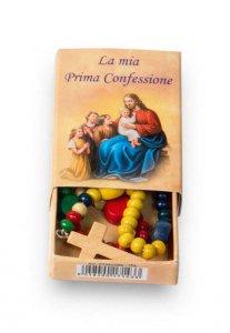 """Copertina di 'Rosario missionario in legno con scatolina """"La Mia Prima Confessione"""" - grani tondi 4 mm'"""