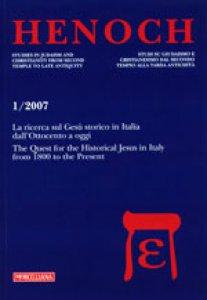 Copertina di 'Henoch  1/2007. La ricerca sul Gesù storico in Italia dall'Ottocento a oggi'