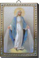 Tavola Madonna Miracolosa stampa su legno - 10 x 14 cm