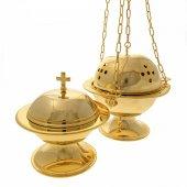 Turibolo e navicella dorati a forma sferica con decoro a croci traforate - altezza 14 cm
