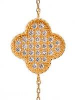 Immagine di 'Braccialetto con quadrifoglio con strass in argento 925 con bagno in oro giallo'