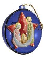 Sfera blu con Sacra Famiglia e stella rossa
