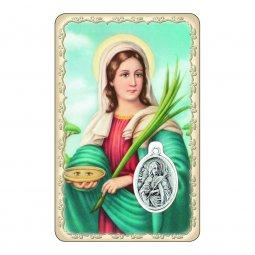 """Copertina di 'Card """"Santa Lucia"""" con preghiera e medaglia - (10 pezzi)'"""