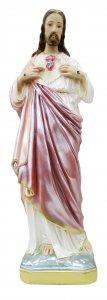 Copertina di 'Statua Sacro Cuore di Gesù in gesso madreperlato dipinta a mano - 60 cm'