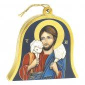 """Icona in legno a campana """"Gesù Buon Pastore"""" - dimensioni 10x11 cm"""