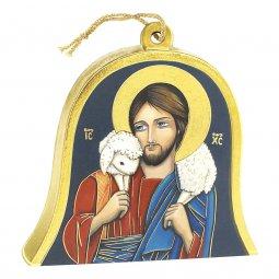 """Copertina di 'Icona in legno a campana """"Gesù Buon Pastore"""" - altezza 10 cm'"""