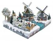 Immagine di 'Villaggio natalizio con paesaggio olandese, movimento, luci, musica (57 x 36 x 45 cm)'