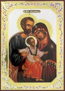 Copertina di 'Icona Sacra Famiglia stampa su legno - 10 x 14 cm'