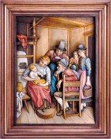 Visita dei nonni con cornice - Demetz - Deur - Statua in legno dipinta a mano. Altezza pari a 38 cm.