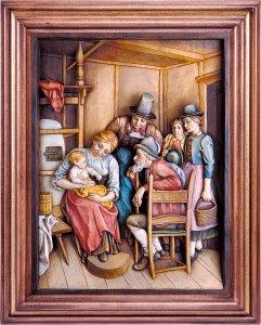 Copertina di 'Visita dei nonni con cornice - Demetz - Deur - Statua in legno dipinta a mano. Altezza pari a 38 cm.'