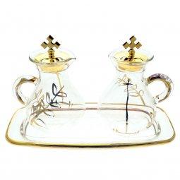 Copertina di 'Servizio ampolline in vetro con foglia d'oro 100 cc'