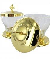 Immagine di 'Astuccio ( kit celebrazione messa) con 3 vasetti altare dorati'