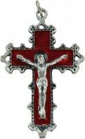 Croce in metallo con smalto rosso - 5 cm