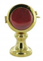 Reliquiario a ostensorio in ottone color oro - altezza 9,5 cm, Ø 5,3 cm