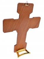 """Immagine di 'Croce """"Comunione"""" con attestato ed ovale in rilievo - dimensioni 15x11 cm'"""