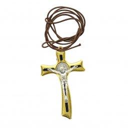 Copertina di 'Croce di San Benedetto in metallo dorato con laccio - altezza 8 cm'