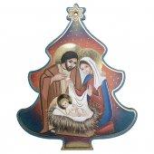 Albero di Natale in legno da appendere con Natività - dimensioni 11,5x9 cm