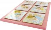 Immagine di 'Tavola Ave Maria 6 riquadri in legno rosa - 29 x 21 cm'