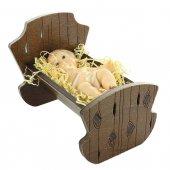 Gesù Bambino in resina con culla in legno - dimensioni 8x12 cm