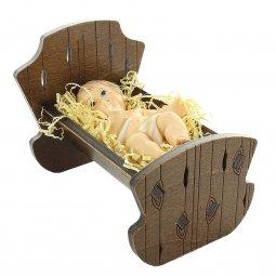 Copertina di 'Gesù Bambino in resina con culla in legno - dimensioni 8x12 cm'