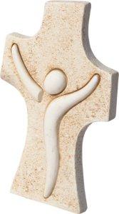 Copertina di 'Croce moderna in resina ad effetto pietra - altezza 9,5 cm'