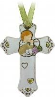 Croce in resina bianca per comunione bimbo cm 8,5