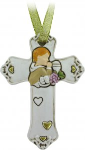 Copertina di 'Bomboniera comunione croce per bambino in resina cm 8,5 bianca'