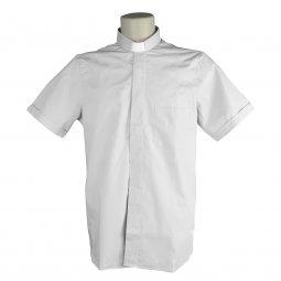 Copertina di 'Camicia clergyman bianca mezza manica 100% cotone - collo 45'