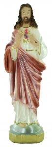 Copertina di 'Statua Sacro Cuore di Gesù in gesso madreperlato dipinta a mano - 15 cm'