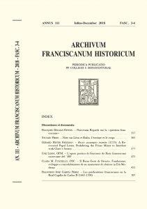 Archivum Franciscanum Historicum n. 2018/3-4