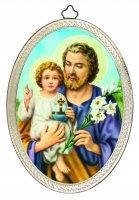 """Icona ovale """"San Giuseppe con il Bambino"""" in stile classico - dimensioni 15x10 cm"""