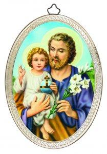 """Copertina di 'Icona ovale """"San Giuseppe con il Bambino"""" in stile classico - dimensioni 15x10 cm'"""
