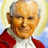 Immagine di 'Candela San Giovanni Paolo II in blister con immagine San Giovanni Paolo II e Gesù Misericordioso cm 4,5 x 25,5'
