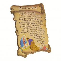 """Copertina di 'Iconcina a forma di pergamena """"Bambino Gesù"""" - dimensioni 10x7 cm'"""