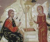 Immagine di 'Quadro Samaritana al pozzo stampa su legno - 10 x 15 cm'